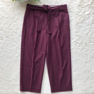 J.Crew cropped wide leg wool pants E2461 wine